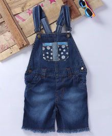 Eimoie Contrast Printed Pocket Applique Dungaree - Indigo