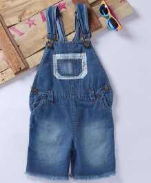 Eimoie Contrast Pocket Applique Dungaree - Blue