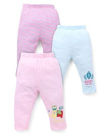 Ohms Full Length Bottoms Pack of 3 - Pink Sky Blue