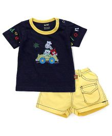Wow Clothes Half Sleeves T-Shirt & Shorts Set - Navy Yellow