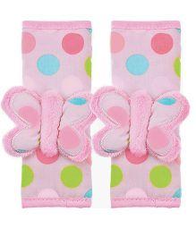 Playette Butterfly Dots Strap Pal Seat Belt Strap - Pink