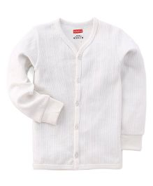 Babyhug Full Sleeves Front Open Thermal Vest - Off White