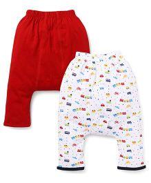 Babyhug Diaper Leggings Pack Of 2 - Red & White