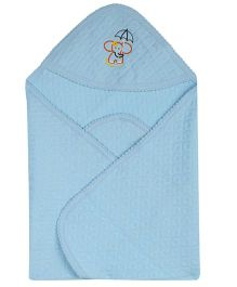 Color Fly Hooded Cotton Blanket Elephant Embroidery - Blue