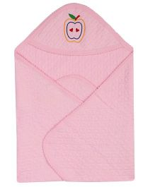 Color Fly Hooded Cotton Blanket Apple Embroidery - Pink