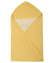 Lula Floral Printed Single Ply Hooded Baby Towel - Yellow