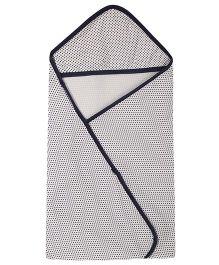 Lula Polka Printed Single Ply Hooded Baby Towel - Grey Black