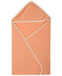 Lula Polka Printed Single Ply Hooded Baby Towel - Orange