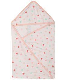 Lula Mult star Printed Single Ply Hooded Baby Towel - White