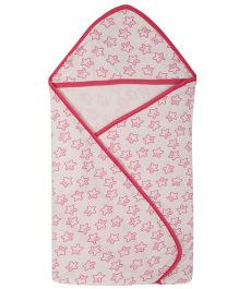 Lula Pink Star Printed  Single Ply Hooded Baby Towel - White Red
