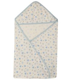Lula Blue Star Printed  Single Ply Hooded Baby Towel - White Blue