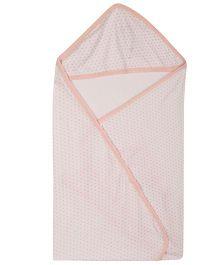 Lula white Heart Printed  Single Ply Hooded Baby Towel - White Peach