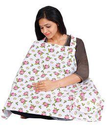 Lulamom Rose Petals Extra Wide Feeding Cloak & Nursing Cover With Pouch - White