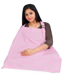 Lulamom Stripes  Printed Extra Wide Feeding & Nursing Cover - Pink