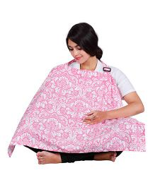 Lulamom Floral  Printed Extra Wide Feeding & Nursing Cover - Pink