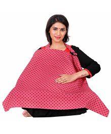 Lulamom Polka Printed Extra Wide Feeding & Nursing Cover - Pink
