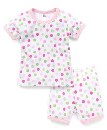 Yiyi Garden Polka Dot Print Tee & Shorts Set - Multicolor