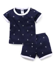 Yiyi Garden Half Sleeves Anchor Print Tee & Shorts Set - Navy