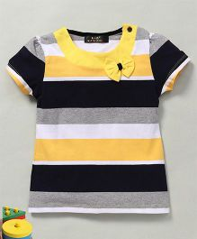 Water Melon Stripes Tee With Bow - Yellow & Grey