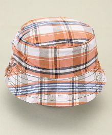 Little Wonder Checkered Print Reversible Hat - Peach