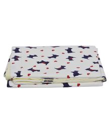 The Baby Atelier Dog Printed Baby Blanket - White & Blue