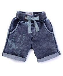 Vitamins Drawstring Shorts Turn Up Hem - Dark Blue