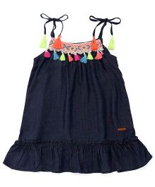 Vitamins Singlet Frock With Pom Poms - Blue