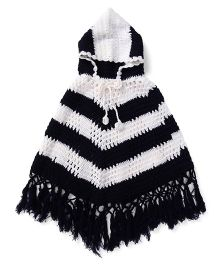 Babyhug Hooded Stripe Poncho - Navy White