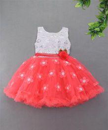 M'Princess Net Flower Party Dress - Tomato Red