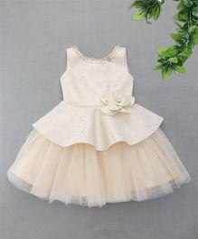 M'Princess Flower Applique Party Dress - Fawn