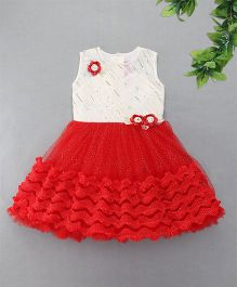 M'Princess Sequin Ruffles Party Dress - Red