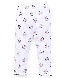 Yiyi Garden Pretty Flower Print Leggings - White & Blue