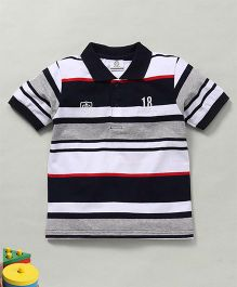 Water Melon Stripes Print Polo Neck Tee - Navy Blue & White