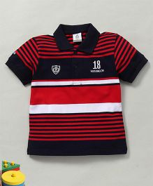 Water Melon Polo Neck Striped Tee - Navy Blue & Red
