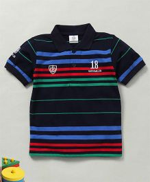 Water Melon Polo Neck Striped Tee -  Green Red & Navy Blue