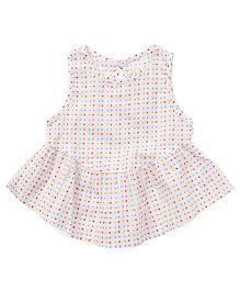 YiYi Garden Multicolour Dot Print Dress - White