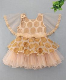 M'Princess Cape Style Flared Party Dress - Fawn