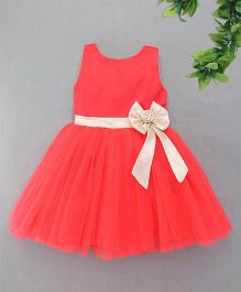 M'Princess Party Dress With Bow - Tomato