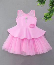 M'Princess Diamond Studded Broach With Flower Applique Dress - Pink