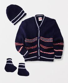 Babyhug Full Sleeves Sweater With Cap And Booties - Navy Blue