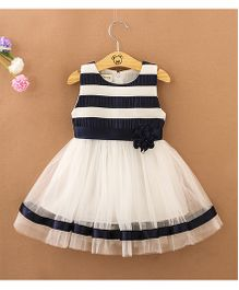 Pre Order - Tickles 4 U Striped Dress With Flower Applique - Blue