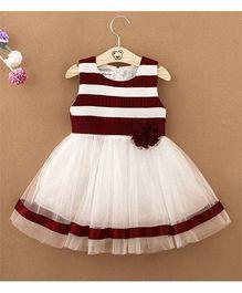 Pre Order - Tickles 4 U Striped Dress With Flower Applique - Maroon