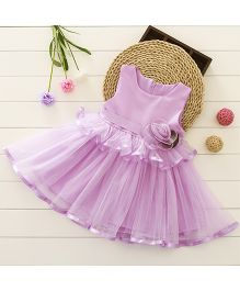 Pre Order - Tickles 4 U Layered Dress With Flower Applique - Purple