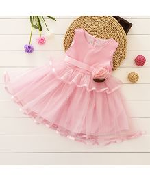Pre Order - Tickles 4 U Layered Dress With Flower Applique - Pink