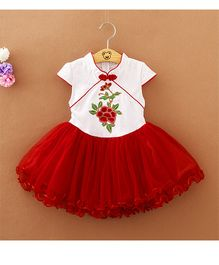 Pre Order - Tickles 4 U Embroidered Dress With Chinese Collar - Red