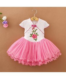 Pre Order - Tickles 4 U Embroidered Dress With Chinese Collar - Pink