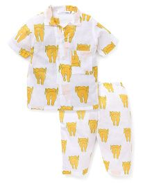 Eight Thousand Miles Half Sleeves Night Suit Elephant Print - White Orange