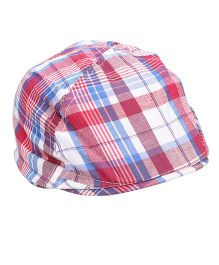 Little Wonder Checkered Print Hat - Red & Multicolour