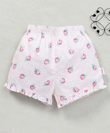 Yiyi Garden Rose Print Shorts - White & Rose Pink