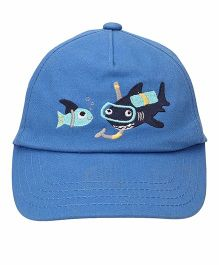 Little Wonder Fishes Printed Cap - Blue